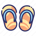 beach, flip flop, footwear, sandal, shoes, slipper, summer icon