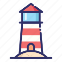 beach, lighthouse, summer, tower icon