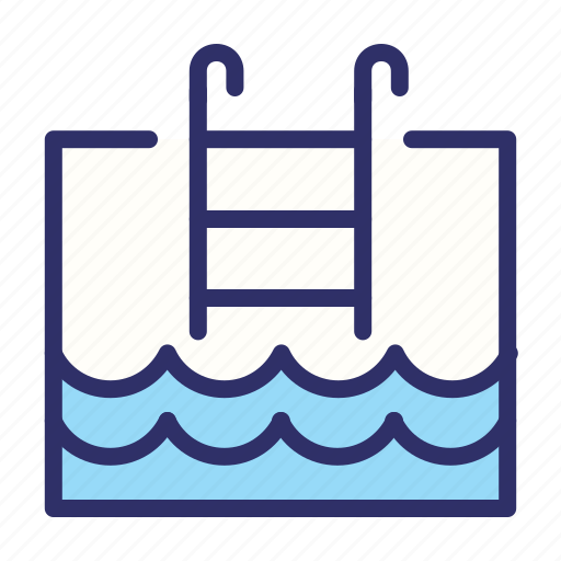 holiday, ladder, pool, summer, swimming, water icon