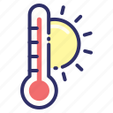 hot, summer, sun, thermometer, weather icon