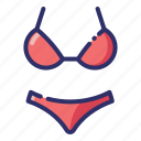 bathing suit, bikini, clothes, summer, swimwear, underwear, woman icon