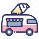beach, beverage, drink, fast food, food truck, ice cream, summer icon