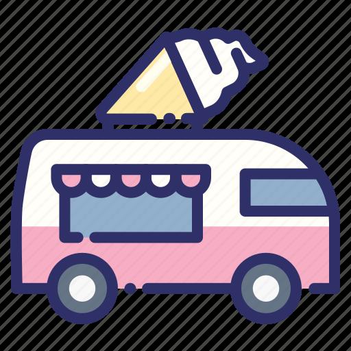 beach, beverage, drink, fast food, food truck, ice cream, summer icon