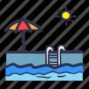 hot, pool, summer, sun, swim, swimming pool icon