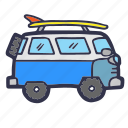 sport, summer, surf, surfing, transport, van icon