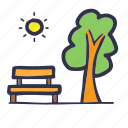 hot, park, summer, tree icon