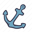 anchor, boat, sail, sea, ship, summer icon