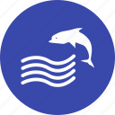 dolphin, ocean, sea, waves icon
