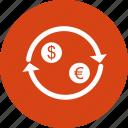 dollar, euro, money, exchange, transfer