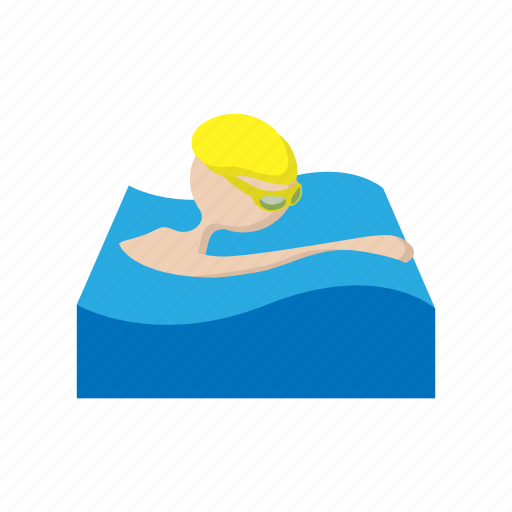 cartoon, exercise, race, sport, stroke, swimmer, young icon