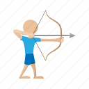 aim, arrow, bow, cartoon, nature, sport, training icon
