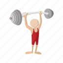 cartoon, lifting, muscular, sport, strong, weight, weightlifting icon