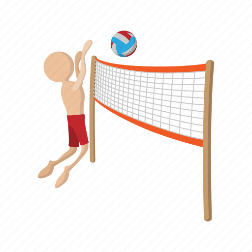 ball, cartoon, playing, silhouette, sport, volley, volleyball icon