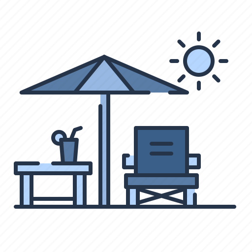 beach, bed, cafe, chair, summer, sunbed, umbrella icon