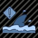 animal, beach, danger, lifeguard, sea, shark, summer icon