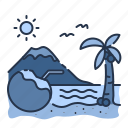 beach, beverage, coconut, island, sea, summer, tree icon