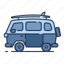 beach, car, summer, vacation, van icon