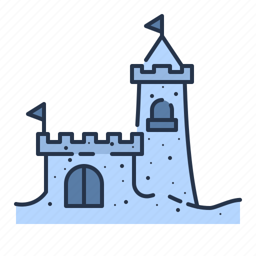 beach, castle, fortress, sand, sand box, summer, vacation icon