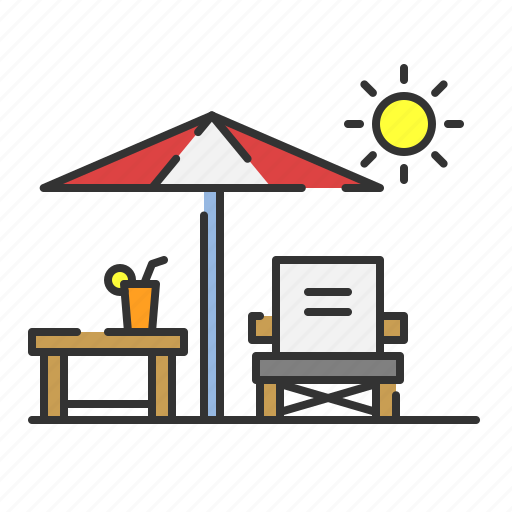 beach, cafe, chair, relax, summer, sun bed icon