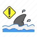 beach, danger, sea, shark, summer icon