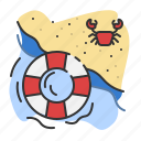 baywatch, beach, crab, lifeguard, sand, summer icon
