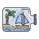 island, toy, boat, summer, bottle icon