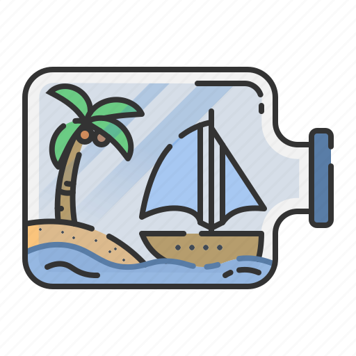 boat, bottle, island, summer, toy icon