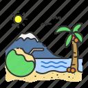 coconut, island, paradise, summer, travel, tree, vacation icon