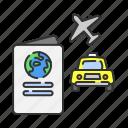 passport, plane, summer, taxi, transportation, travel, vacation icon