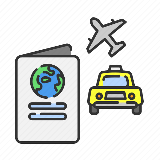 passport, plane, summer, taxi, transportation, travel, vacation icon