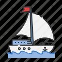 beach, boat, sail, sea, summer, travel, yatch icon
