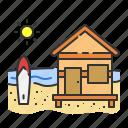 beach, hut, sport, summer, surf, surfer icon
