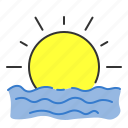 rise, sea, set, summer, sun icon