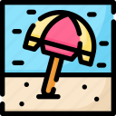 beach, holiday, sand, summer, tourism, umbrella, vacation icon