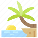 cliff, palm, sea, summer, view icon
