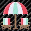 beach, beach chair, furniture, summer, umbrella icon