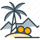 coconut, holiday, mountain, summer, tree, vacation icon