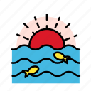 fish, ocean, summer, vacation icon