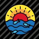 fish, ocean, sea, summer, sunset, vacation icon