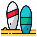beach, holiday, summer, surf, surfboard, surfing, vacation icon