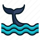 animal, dolphin, fish tail, ocean, sea, travel, vacation icon
