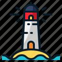 building, lighthouse, ocean, sea, tower