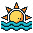 summer, sun, sunrise, sunset, sunshine, vacation, weather icon