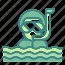 dive, goggles, man, sea, snorkel, summertime, travel
