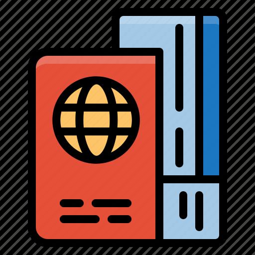identity, passport, tickets, travel icon