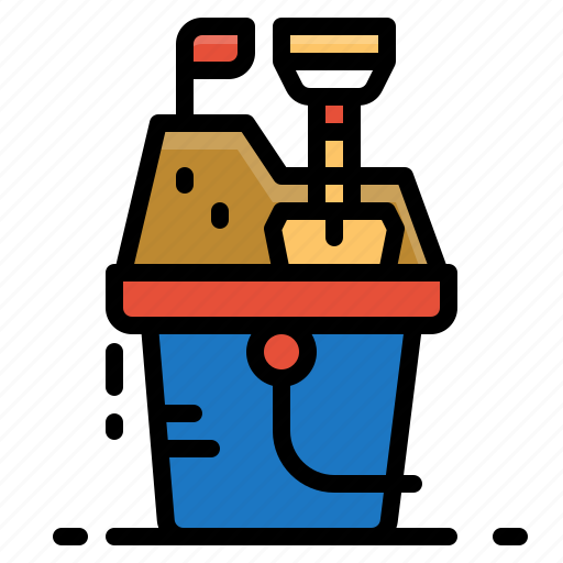 beach, box, bucket, play, sand, toy icon