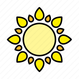 abstract, astrology, flower, nature, sun, weather, yellow icon