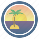 dream, palm, sea, sunny, sunset, sunset and peep of morning icon