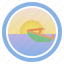 boat, cutter, dawn, launch, sea, sunny, sunset and peep of morning icon