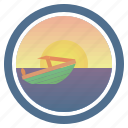 boat, cutter, launch, sea, sunny, sunset, sunset and peep of morning icon